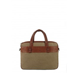 Sac porte documents canvas cuir Brenner